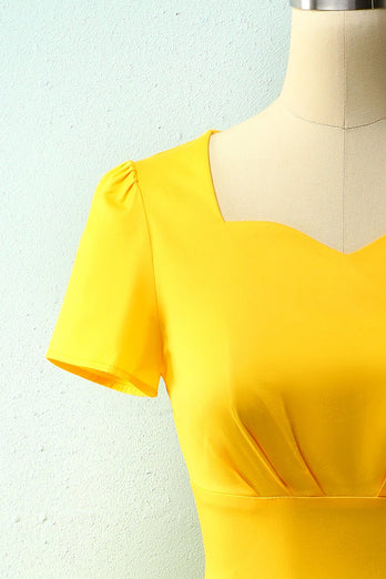 Yellow Asymmetrical Neck Dress