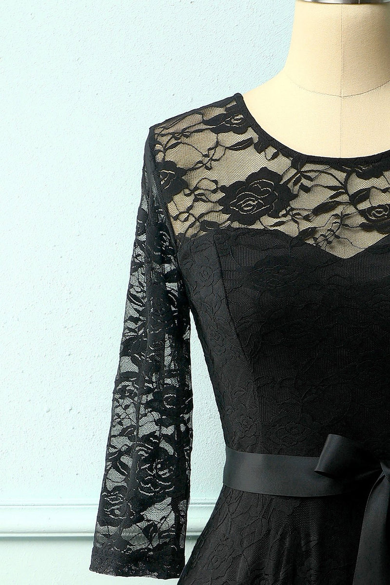 Load image into Gallery viewer, Black Rose Lace Dress