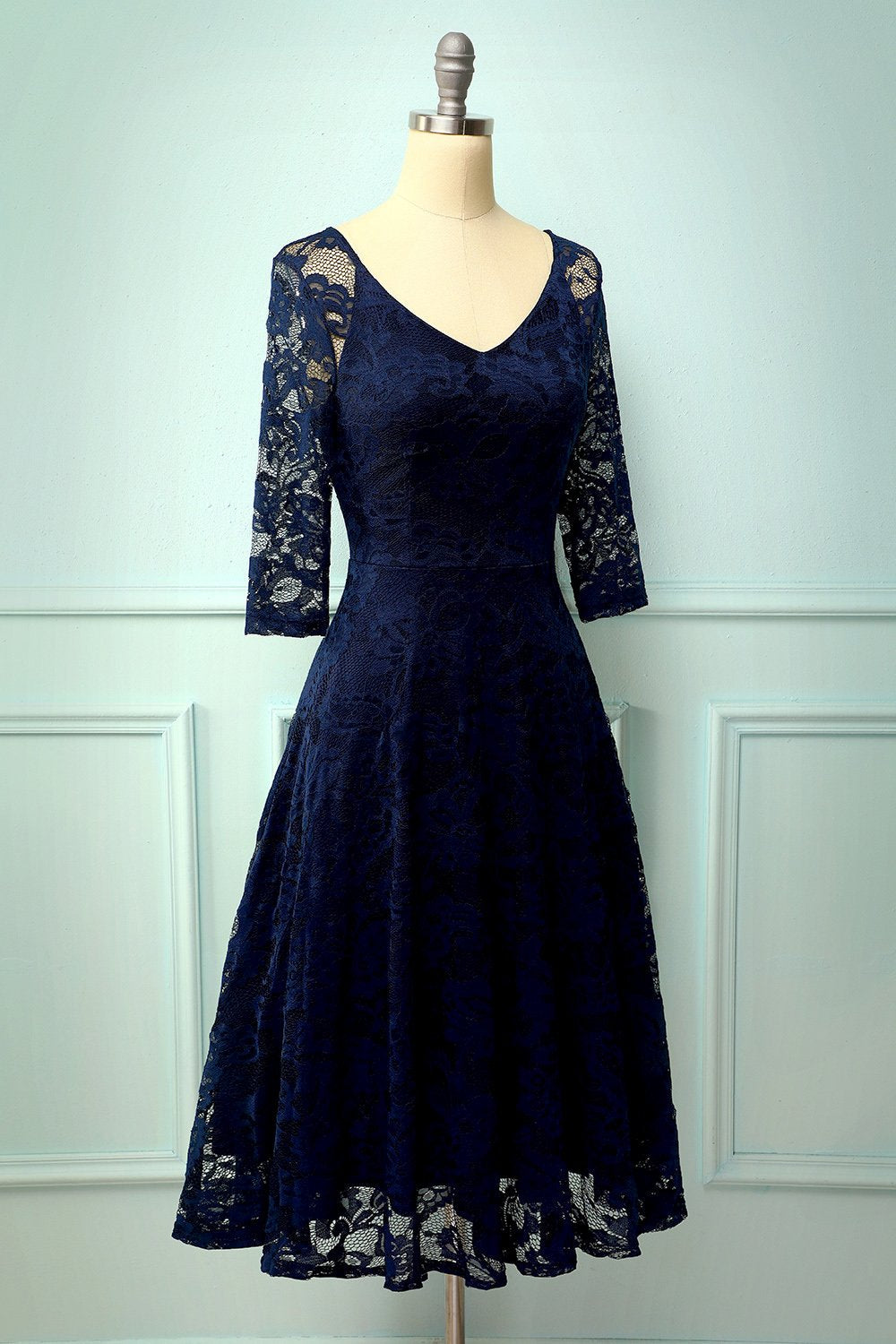 Navy Lace Midi Dress