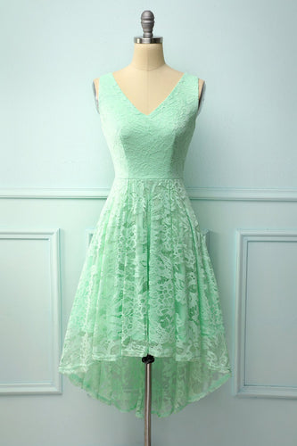 Mint Lace Asymmetrical Dress