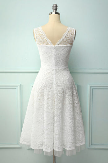 Lace White Formal Dress
