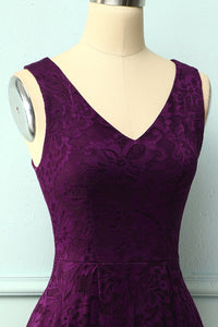 Lace Grape Asymmetrical Dress