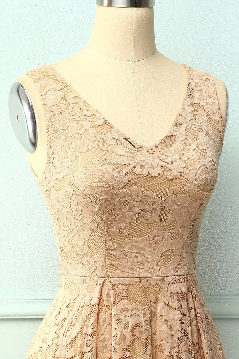 Load image into Gallery viewer, Lace Champagne Asymmetrical Dress