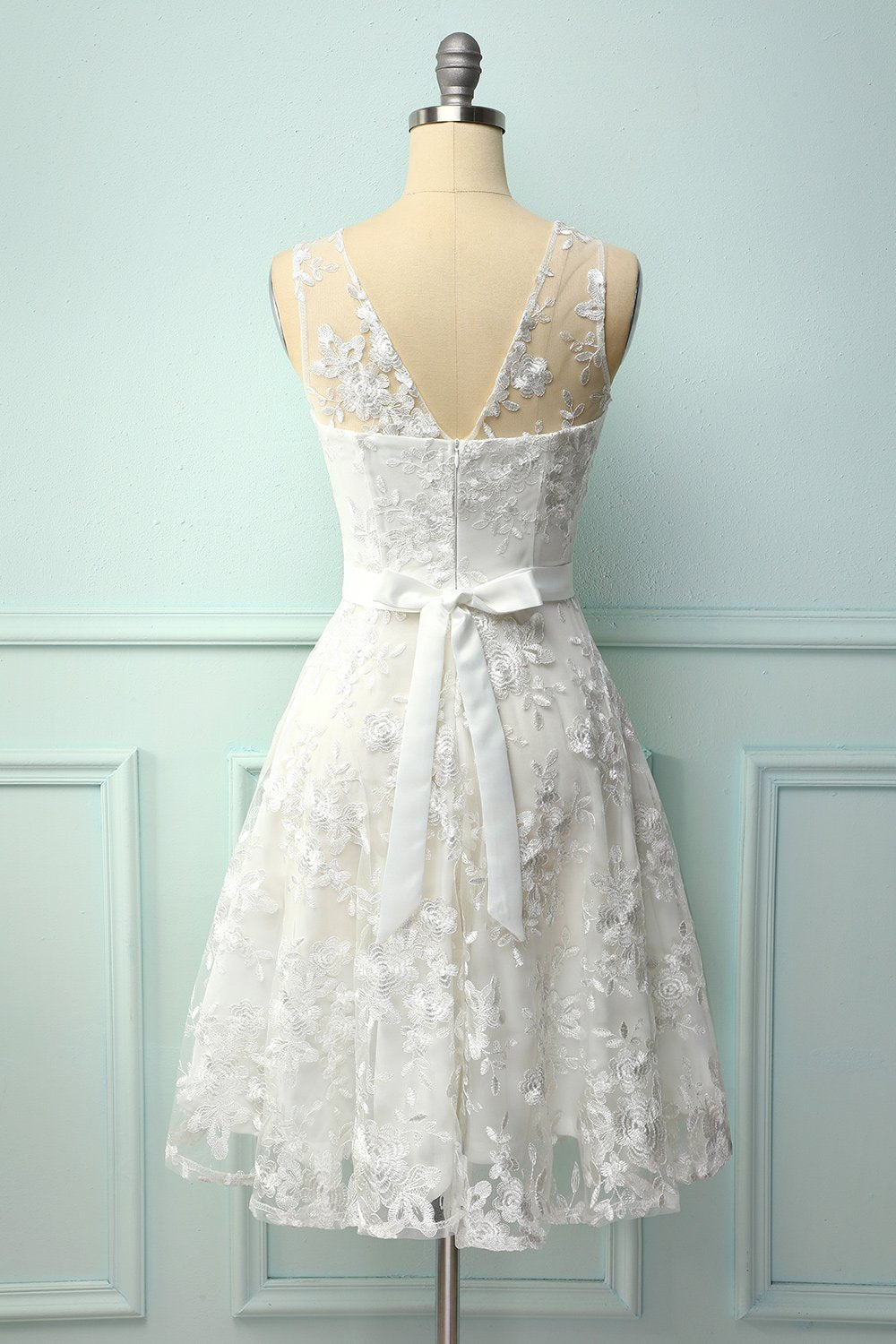 White Lace Dress with Bow