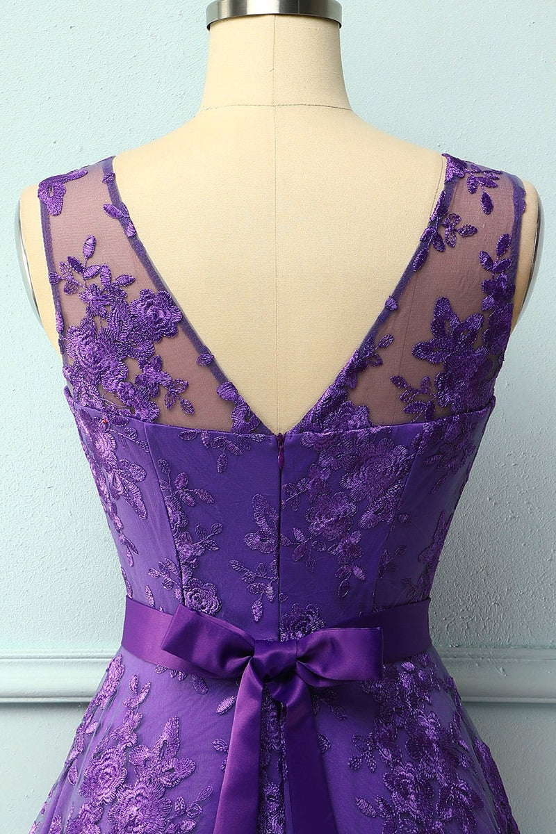 Load image into Gallery viewer, Purple Lace Dress with Bow
