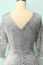 Load image into Gallery viewer, Grey 3/4 Sleeves Formal Dress