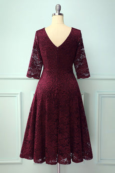 Burgundy 3/4 Sleeves Formal Dress