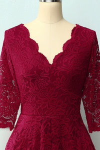 Dark Red 3/4 Sleeves Formal Dress