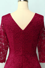 Load image into Gallery viewer, Dark Red 3/4 Sleeves Formal Dress