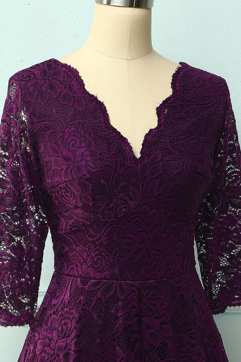 Load image into Gallery viewer, Grape 3/4 Sleeves Formal Dress