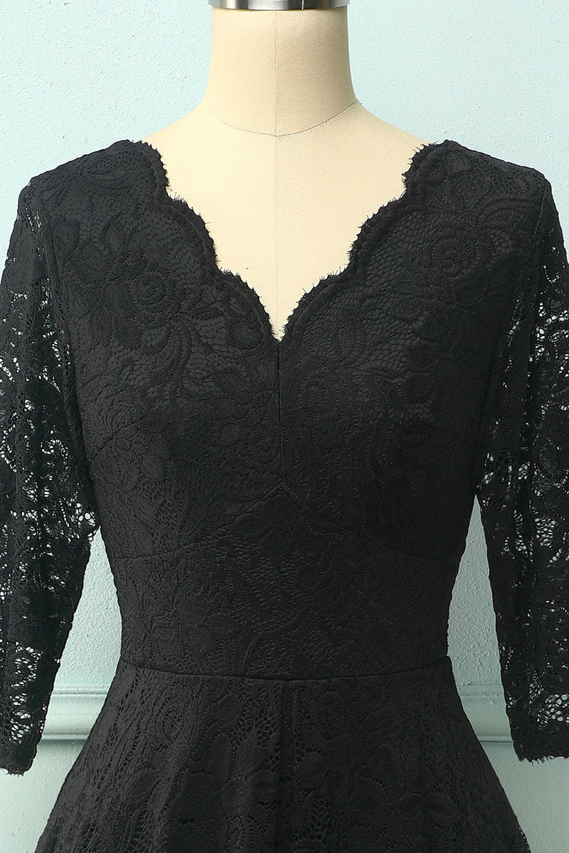 Load image into Gallery viewer, Black 3/4 Sleeves Formal Dress