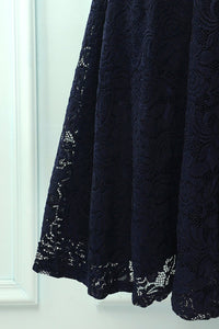 Navy 3/4 Sleeves Formal Dress