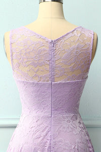 Asymmetrical Lavender Lace Dress