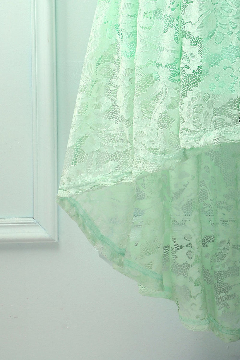 Load image into Gallery viewer, Asymmetrical Mint Lace Dress