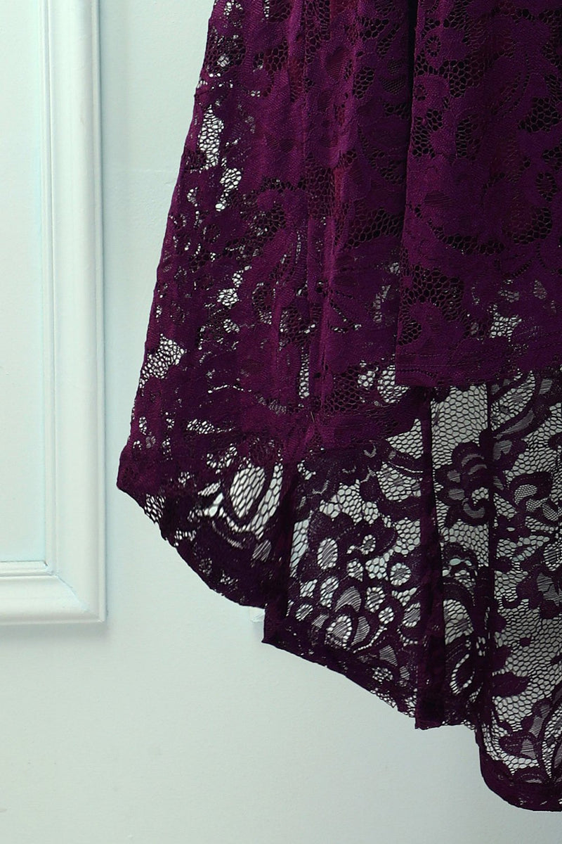 Load image into Gallery viewer, Asymmetrical Grape Lace Dress