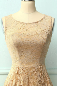 Asymmetrical Champagne Lace Dress
