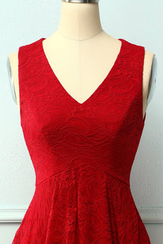 Dark Red Asymmetrical Lace Dress