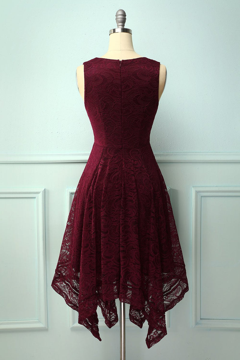 Load image into Gallery viewer, Burgundy Asymmetrical Lace Dress
