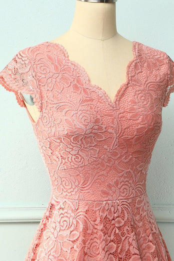 Blush V Neck Midi Lace