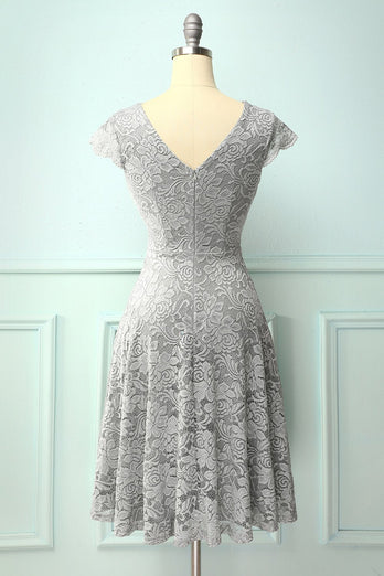 Grey V Neck Midi Lace