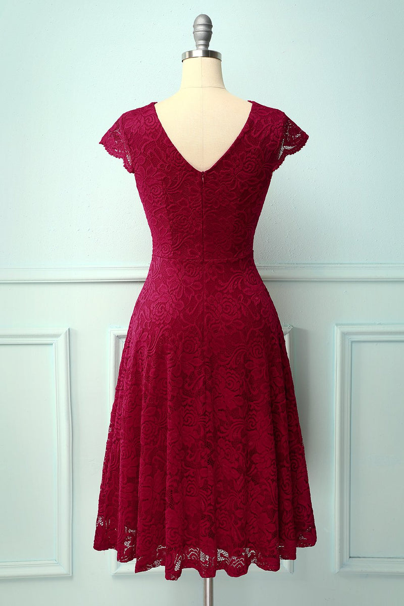 Load image into Gallery viewer, Dark Red V Neck Midi Lace