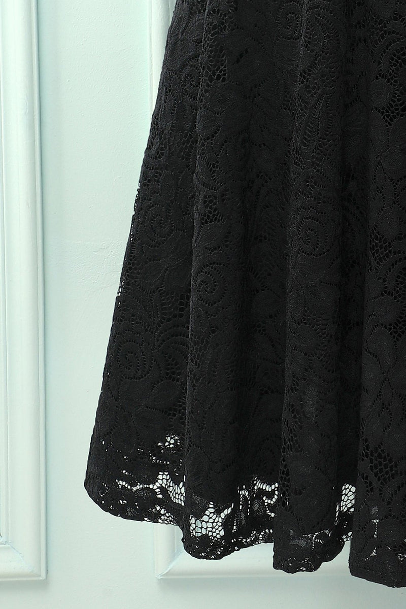 Load image into Gallery viewer, Black V Neck Midi Lace