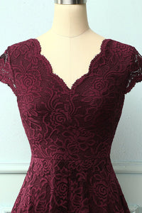 Burgundy V Neck Midi Lace