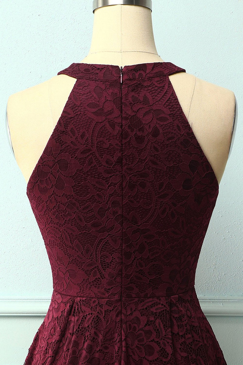 Load image into Gallery viewer, Burgundy Halter Lace Midi