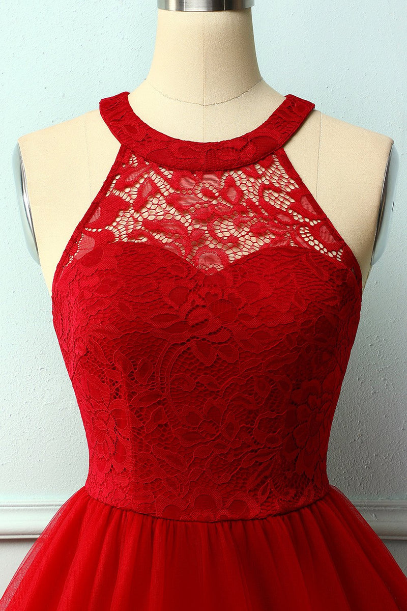 Load image into Gallery viewer, Dark Red Halter Lace Dress