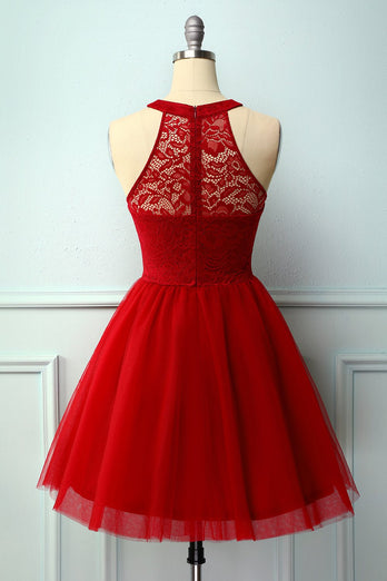 Dark Red Halter Lace Dress