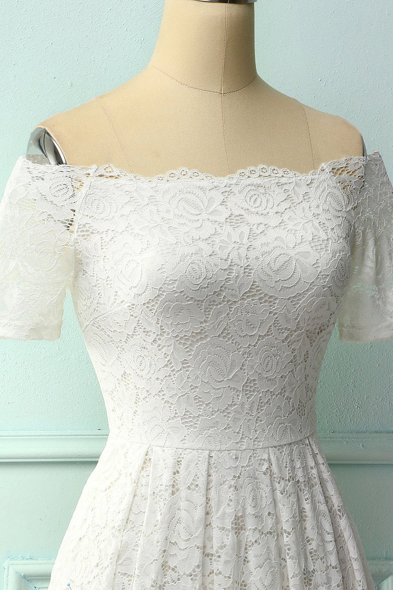 Load image into Gallery viewer, Off Shoulder White Midi Lace Dress