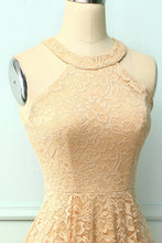 Load image into Gallery viewer, Champagne Halter Lace Midi