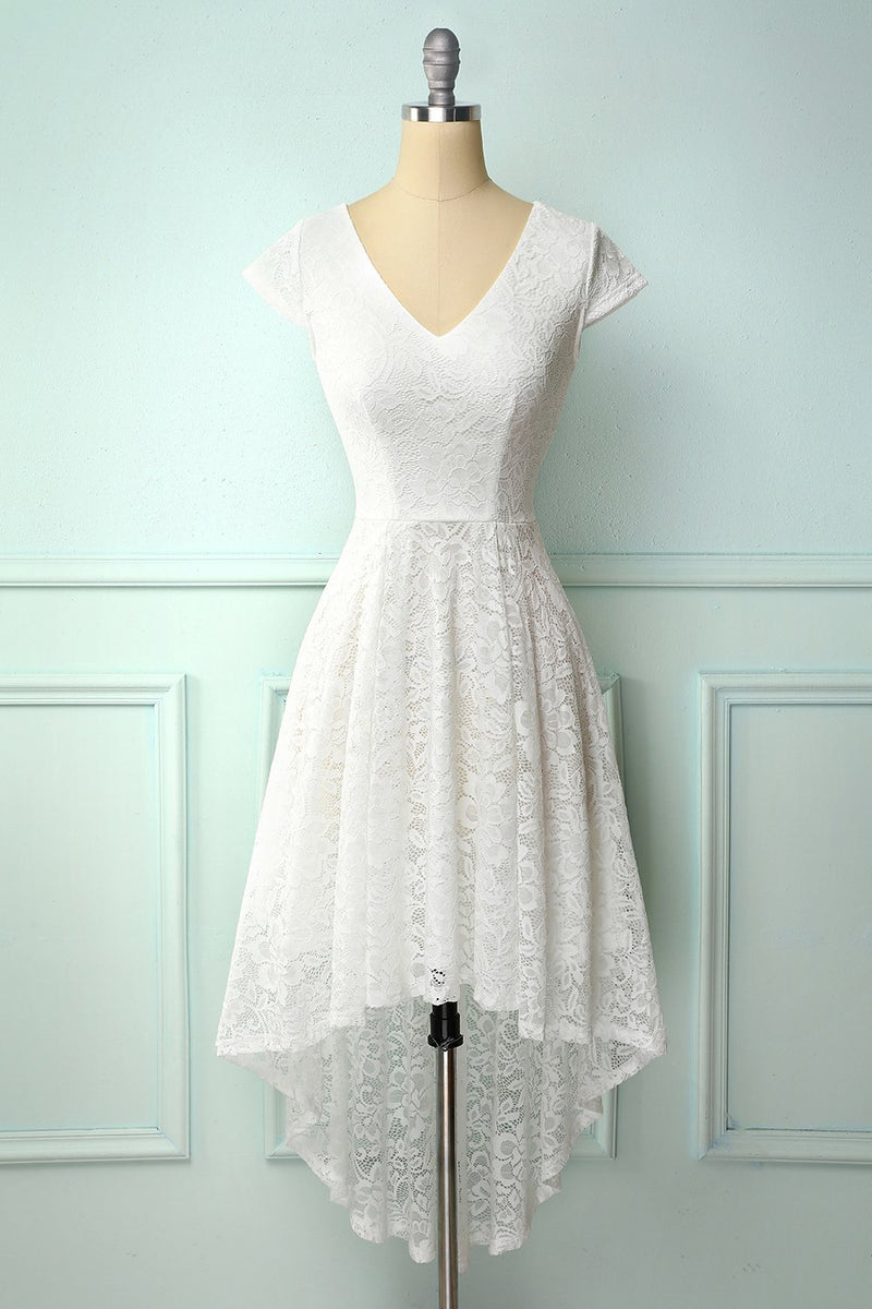 Load image into Gallery viewer, White High Low Lace Dress