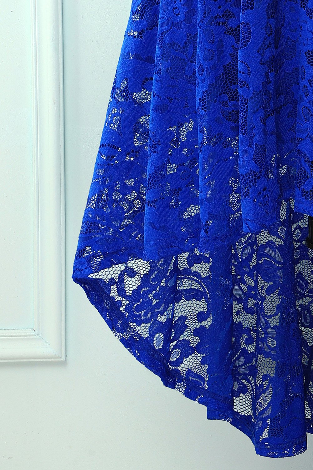 Blue High Low Lace Party Dress