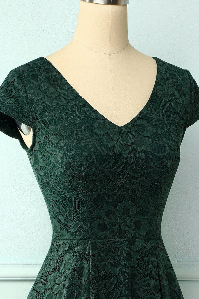 Load image into Gallery viewer, Dark Green High Low Lace Dress