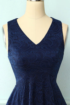 Asymmetrical Navy V Neck Lace Dress