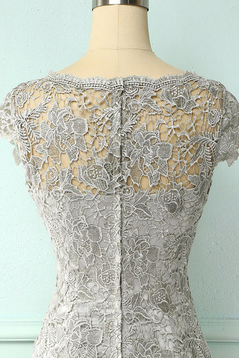 Grey Lace Mother Of the Bride Dress