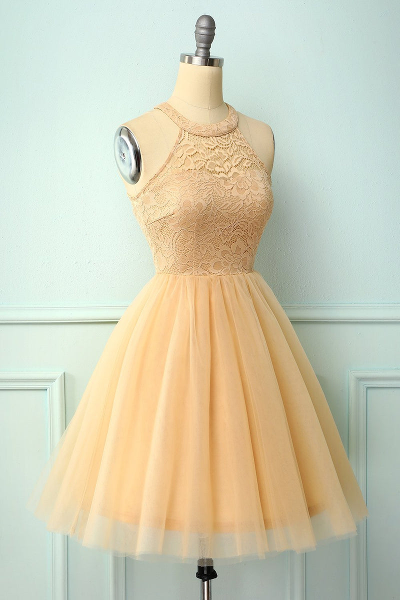 Load image into Gallery viewer, Champagne Short Party Dress