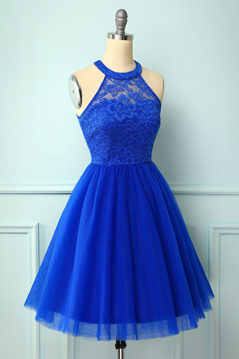 Halter Royal Blue Lace Dress