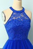 Load image into Gallery viewer, Halter Royal Blue Lace Dress