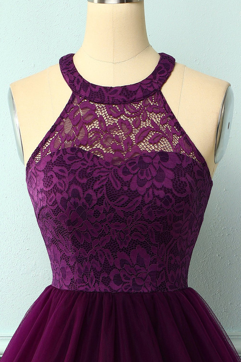 Load image into Gallery viewer, Purple Halter Lace Dress