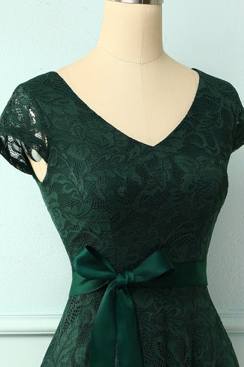 Green V Neck Bridesmaid Lace Dress