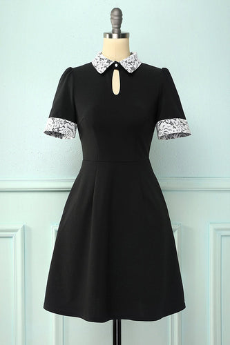 Black Lapel Collar Dress with Pockets