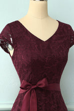 Load image into Gallery viewer, Burgundy V Neck Bridesmaid Lace Dress