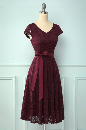 Solid V Neck Bridesmaid Lace Dress