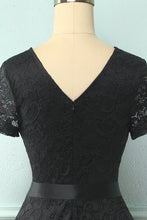 Load image into Gallery viewer, Black Short Sleeves Lace Dress
