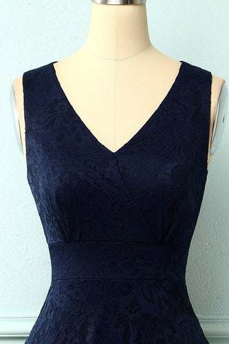 High Low Navy Blue Lace Party Dress