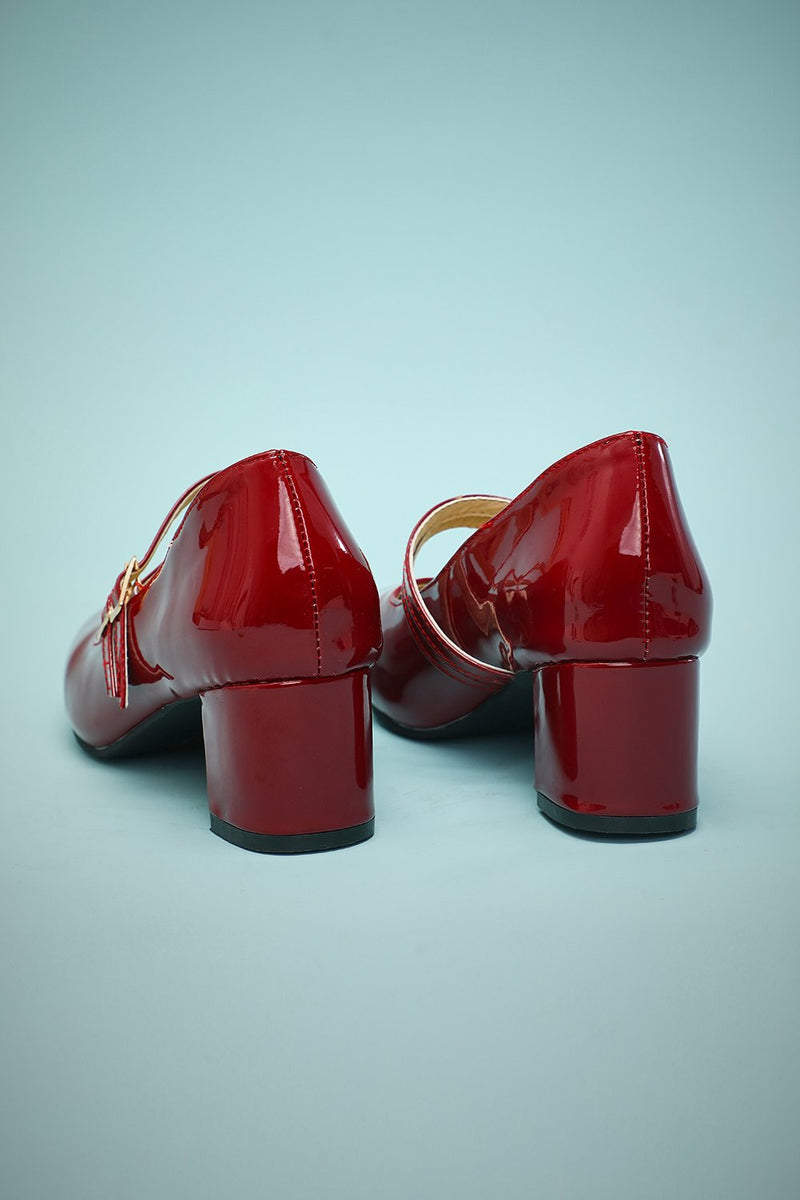 Load image into Gallery viewer, Red Straps Retro Heels