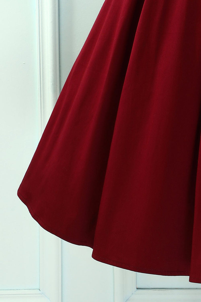 Load image into Gallery viewer, Burgundy V Back Long Sleeves Dress
