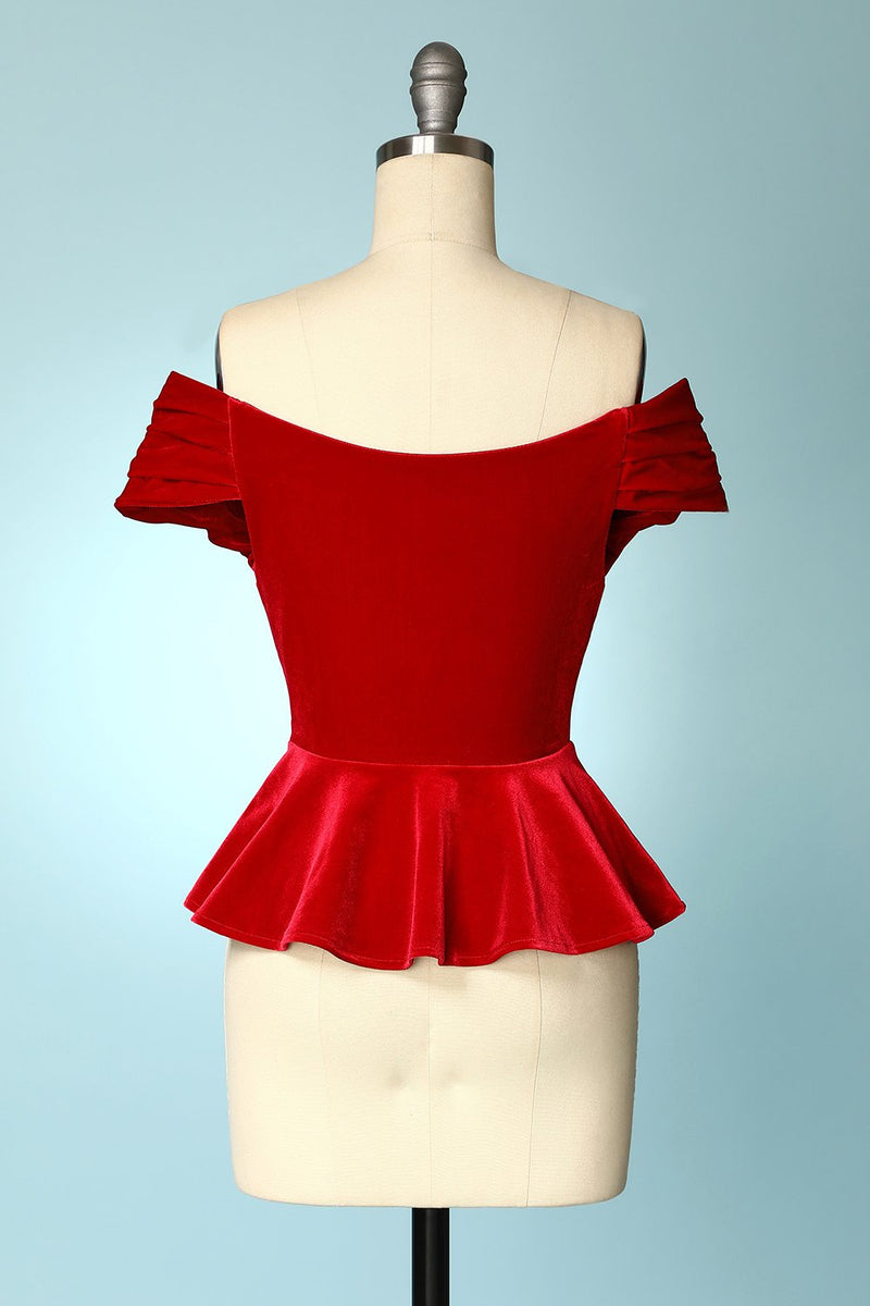 Load image into Gallery viewer, Red Velvet Cropped Tops
